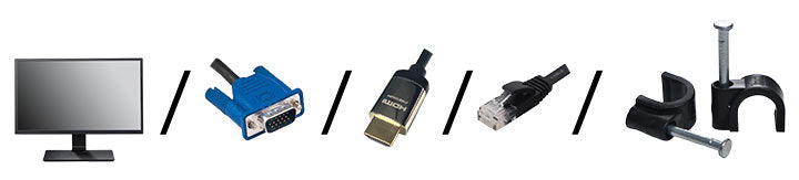 Monitor, VGA Cable, HDMI Cable, Network Cable, Cable Clips