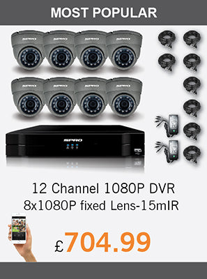 12 Channel 1080P DVR with 8 x 1080P fixed lens CCTV cameras - £704.99
