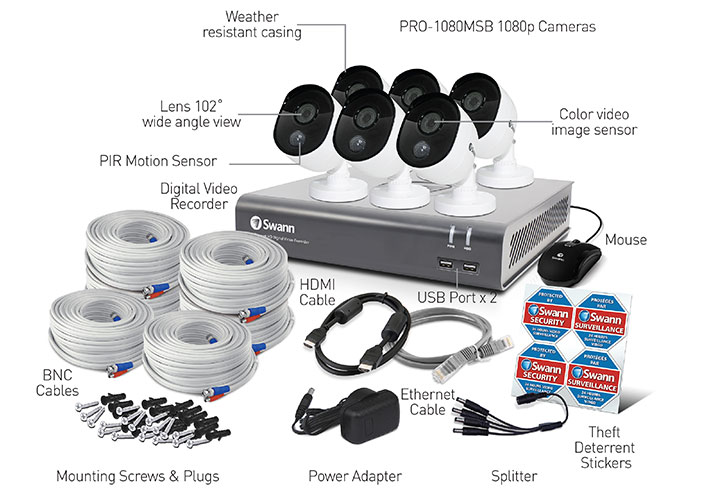 Swann - 4 Channel 1080p Full HD DVR Security System