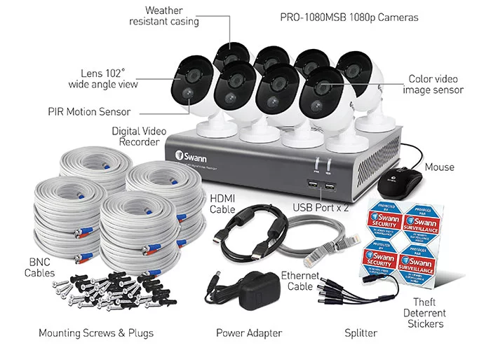 Swann - 16 CHANNEL 1080P FULL HD DVR Security System & 8 Camera