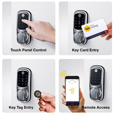 Yale - Open your door via PIN code, key card, key tag, remote fob and even from your smartphone