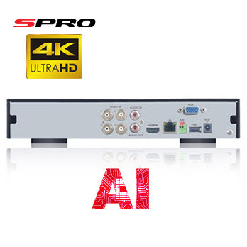 SPRO B6 - 12 CHANNEL 4K 8MP 5 IN 1 DVR with AI Technology - Rear