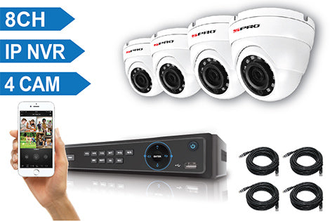 SPRO 8 Channel IP NVR (IP CCTV Recorder) with 4 x 4MP IP Cameras and Premade Cat5e Cables