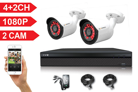 XVR04-C1 6 Channel Full HD 1080P 5 IN 1 DVR Kit with 2 HD Bullet Cameras, cables and PSU