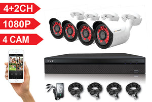 XVR04-C1 6 Channel Full HD 1080P 5 IN 1 DVR Kit with 4 HD Bullet Cameras, cables and PSU