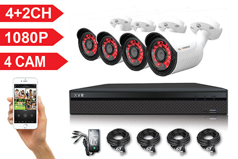 Sarris 4+2 Channel Full HD 1080P 5 IN 1 DVR Kit with 4 HD Bullet Cameras, cables and PSU