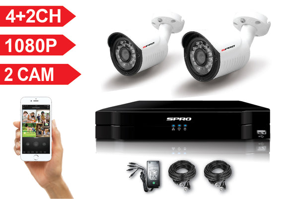 SPRO 6 Channel Full HD 1080P 5 IN 1 DVR Kit with 2 HD Bullet Cameras, cables and PSU