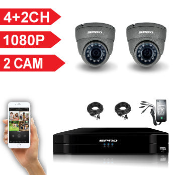 SPRO 6 Channel Full HD 1080P 5 IN 1 DVR Kit with 2 HD Dome Cameras, cables and PSU