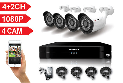 SPRO 6 Channel Full HD 1080P 5 IN 1 DVR Kit with 4 HD Bullet Cameras, cables and PSU