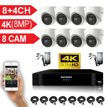 SPRO 8 Channel 4K (8MP) 5 IN 1 DVR Kit with 8 x 4K Turret Cameras, cables and PSU