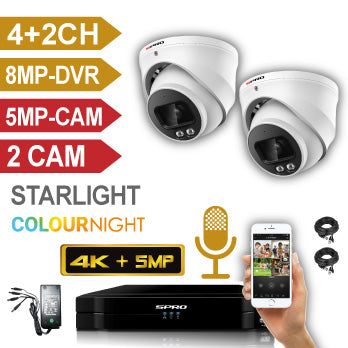 SPRO 8 Channel 4K (8MP) 5 IN 1 DVR Kit with 2 x 5MP Colour Night Cameras, cables and PSU