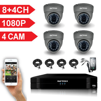 8+4 Channel Full HD 1080P 5 IN 1 DVR Kit with 4 HD Dome Cameras, cables and PSU