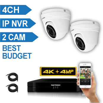 SPRO 4 Channel 4K IP CCTV Kit with 2 X 4MP FIXED LENS DOME IP Camera