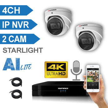SPRO 4 Channel 4K IP CCTV Kit with 2 X 4K (8MP) FIXED LENS TURRET IP Camera