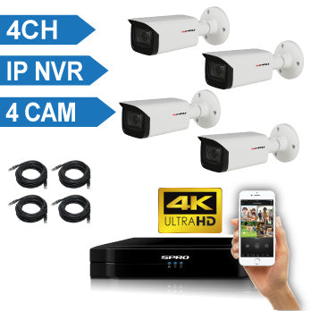 SPRO 4 Channel 4K IP CCTV Kit with 4X4MP IP Auto-Focus Bullet Cameras