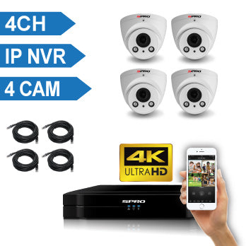 SPRO 4 Channel 4K IP CCTV Kit with 4 IP Auto-Focus Dome Cameras