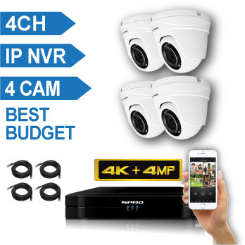 SPRO 4 Channel 4K IP CCTV Kit with 4 X 4MP FIXED LENS DOME IP Camera
