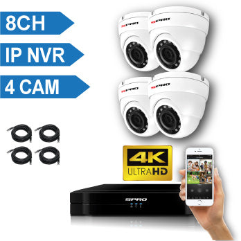 SPRO 8 Channel 4K IP CCTV Kit with 4MP IP Dome Cameras