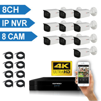 SPRO 8 Channel 4K IP CCTV Kit with 8X4MP IP Auto-Focus Bullet Cameras