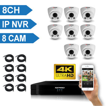 SPRO 4 Channel 4K IP CCTV Kit with 8X4MP IP Auto-Focus Dome Cameras8