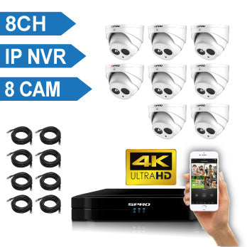 SPRO 8 Channel 4K IP CCTV Kit with 8x4MP Microphone built-in IP Camera