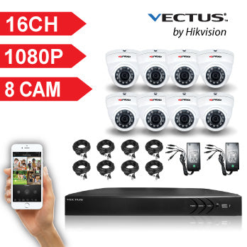 1080P VECTUS CCTV Kit / 16 Channel with 8 X HD Dome Cameras and 1TB HDD