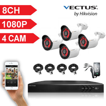 1080P VECTUS CCTV Kit / 8 Channel with 4 X HD Bullet Cameras and 1TB HDD