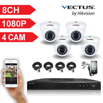 1080P VECTUS CCTV Kit / 8 Channel with 4 X HD Dome Cameras and 1TB HDD