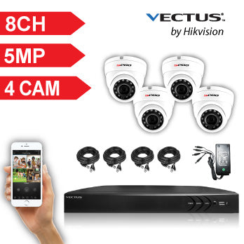 5MP VECTUS CCTV Kit / 8 Channel with 4 X HD Dome Cameras and 1TB HDD