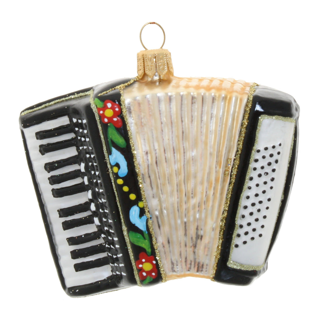 Accordion with flowers • glass ornament