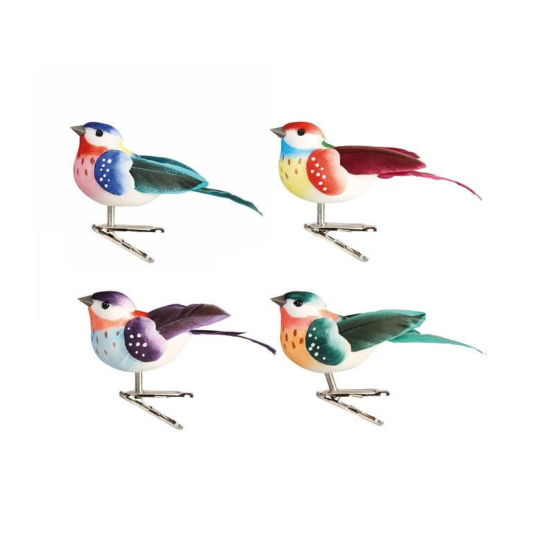 coloured birds on clip • set of four