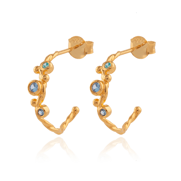 Blue Lily Hoops • guld