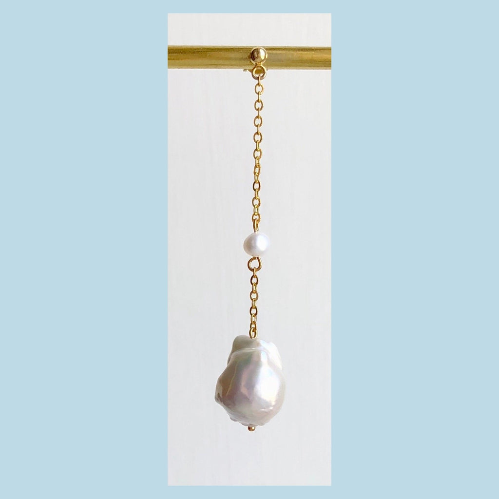 Double Pearl Baroque Earring - GOLD / one piece