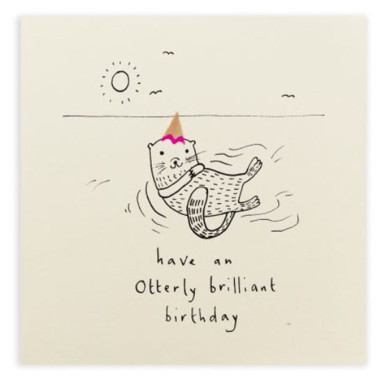 Pencil Shavings Card, Birthday Otter