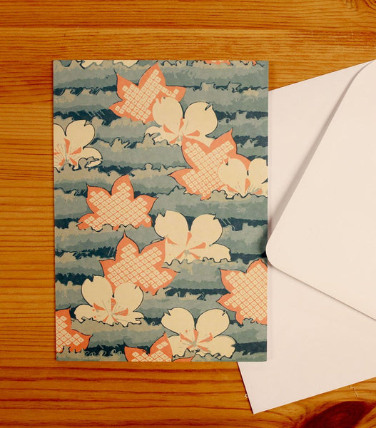 Japanese Style Card, Big Orange Flower