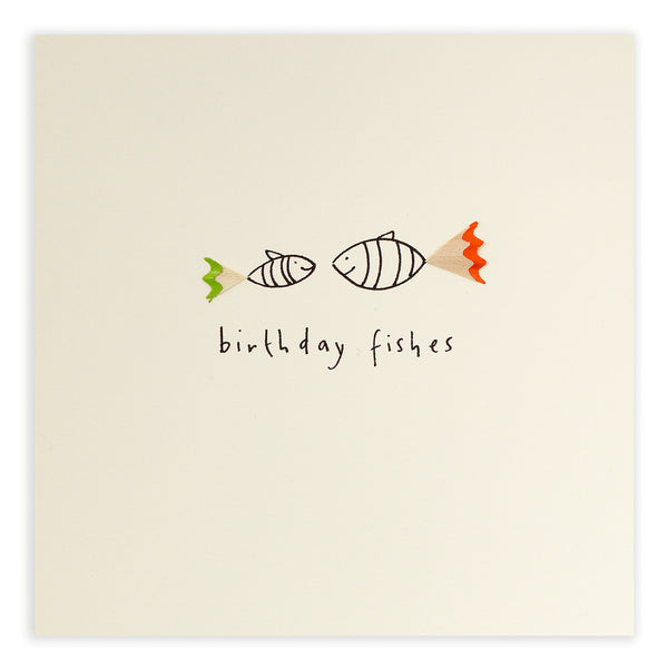 Pencil Shavings Card, Birthday Fishes