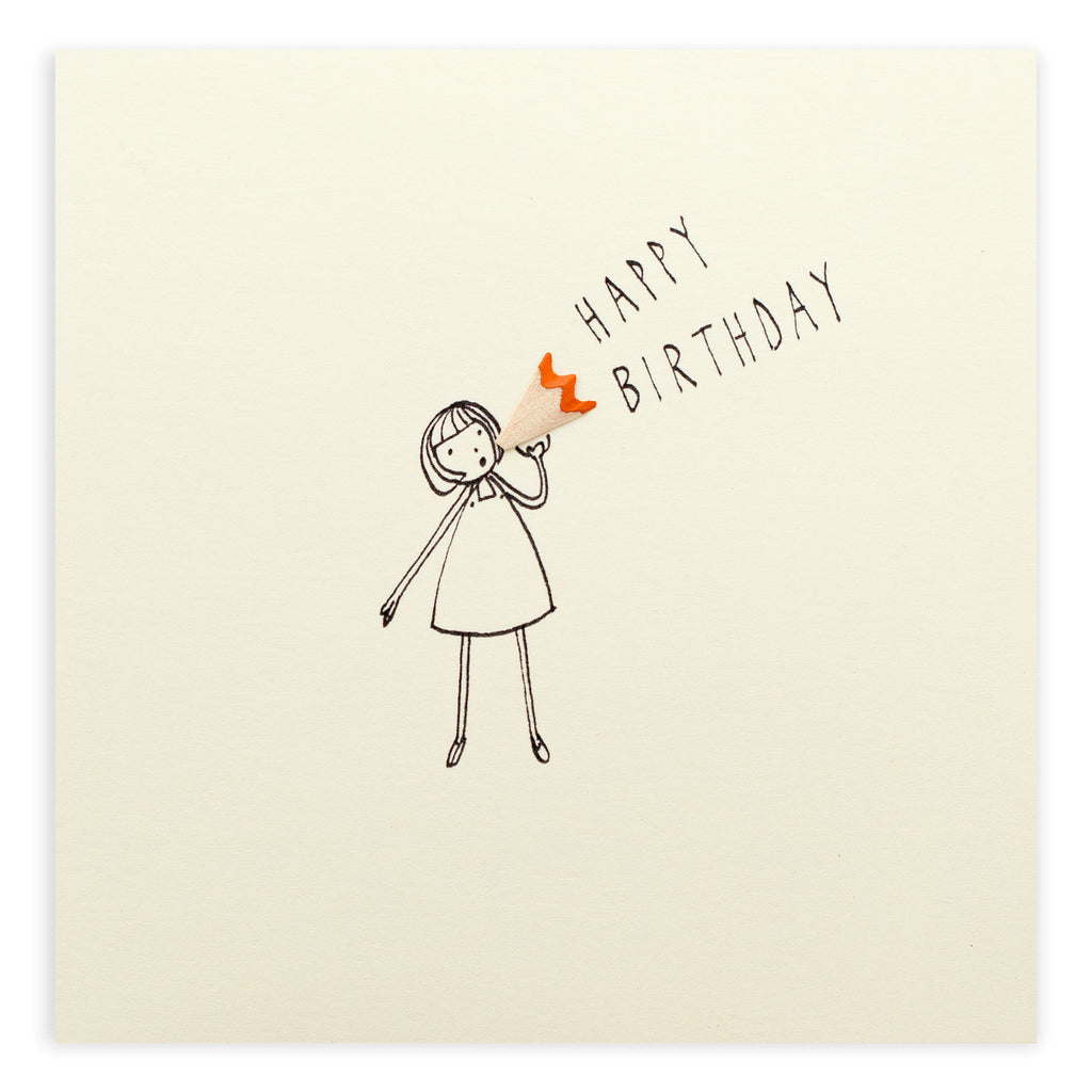 Pencil Shavings Card, Birthday Loud Hailer