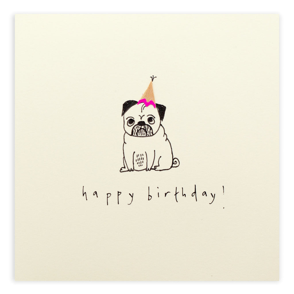 Pencil Shavings Card, Birthday Pug