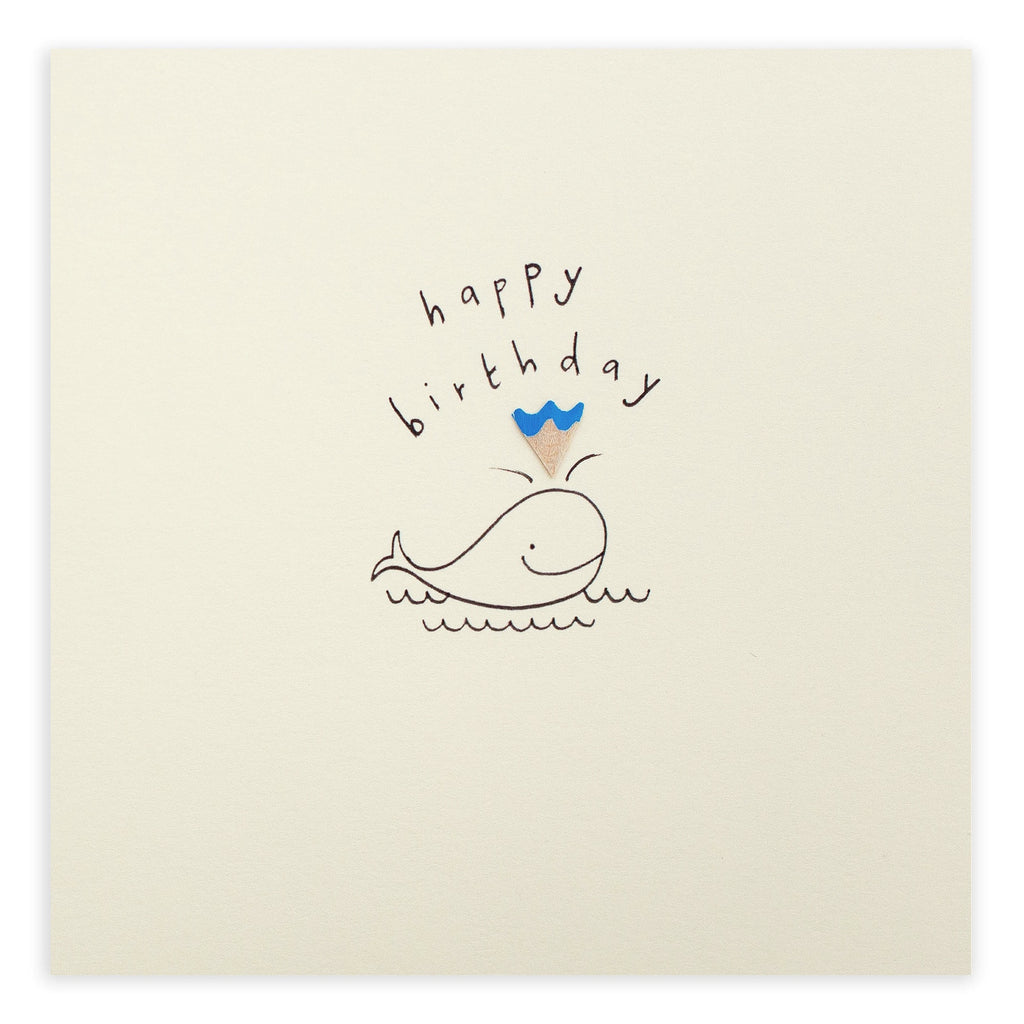 Pencil Shavings Card, Birthday Whale