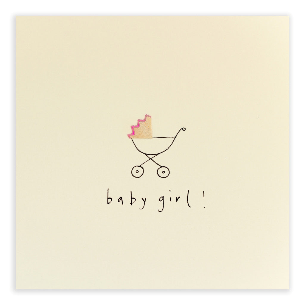 Pencil Shavings Card, Baby Girl Pram