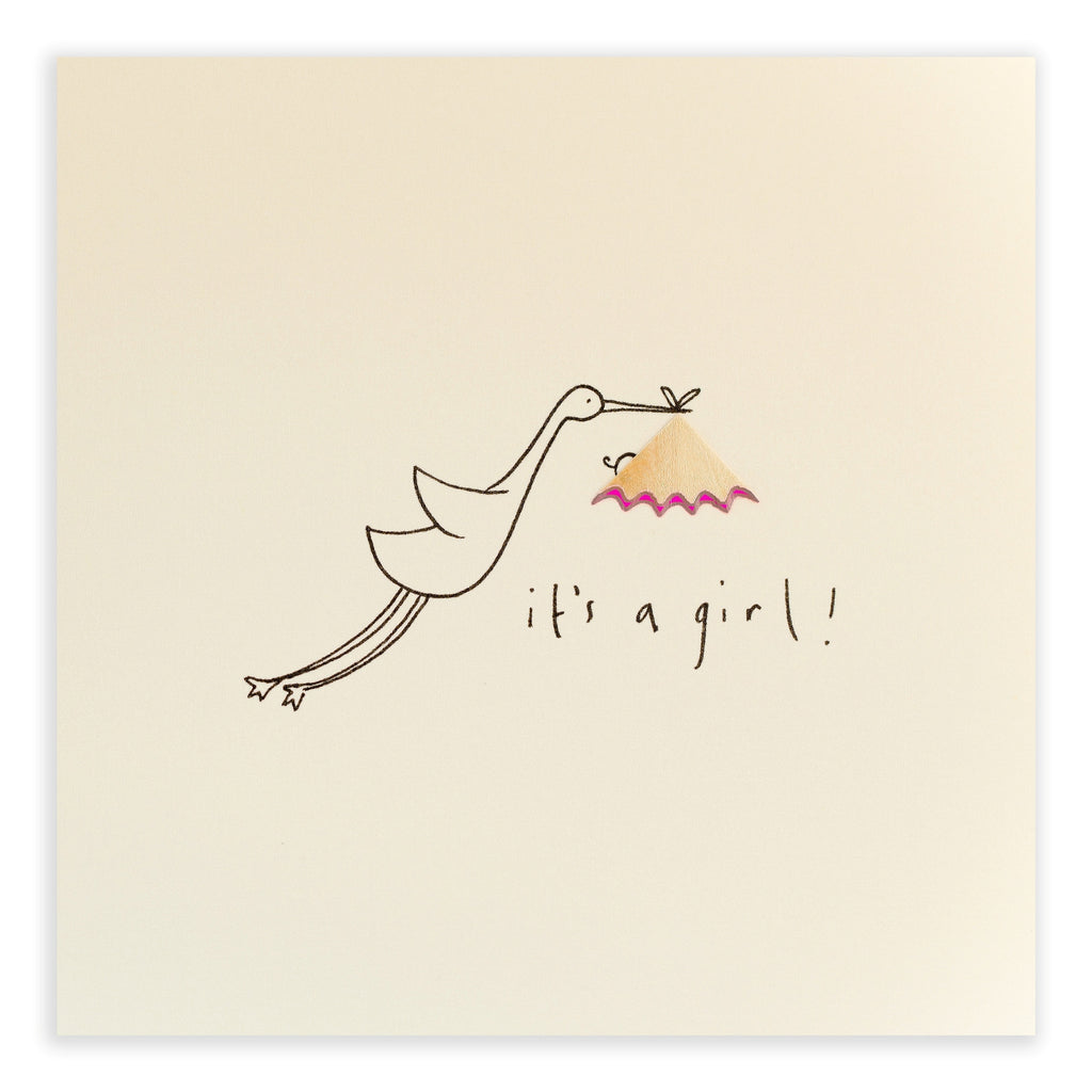 Pencil Shavings Card, Baby Girl Stork