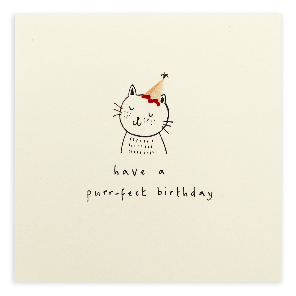 Pencil Shavings Card, Birthday Purrfect