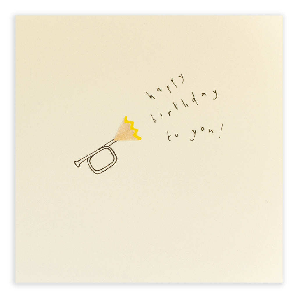 Pencil Shavings Card, Trumpet