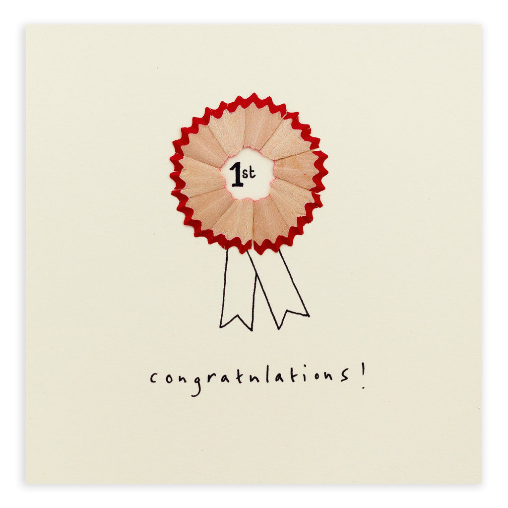 Pencil Shavings Card, Congratulations Rosette