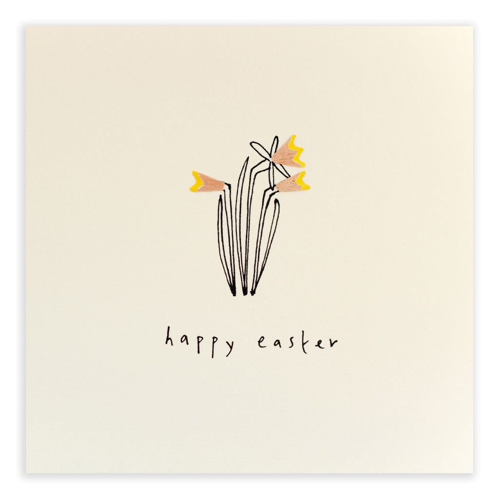Pencil Shavings Card, Easter Daffodils