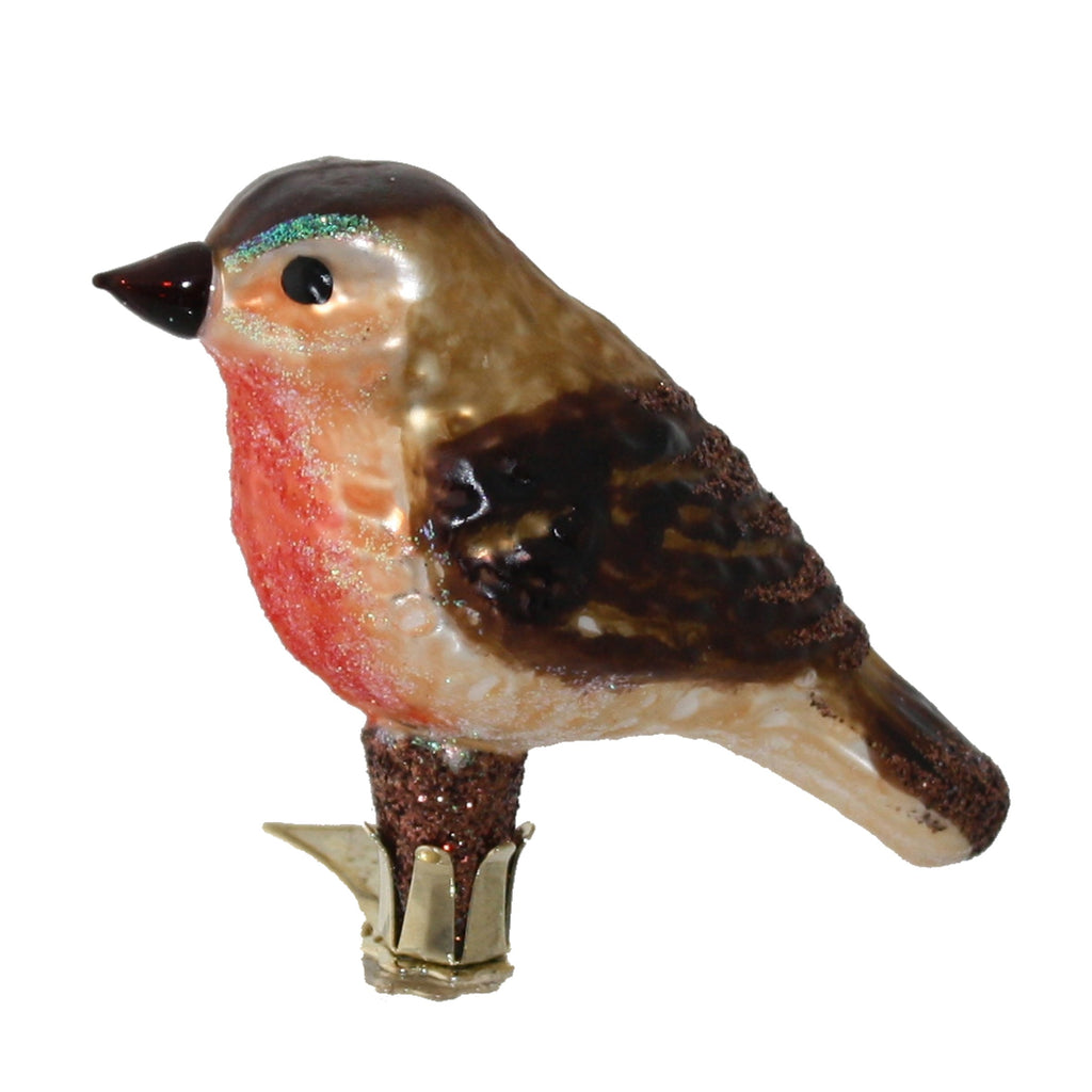 redbreast on clip • glass ornament