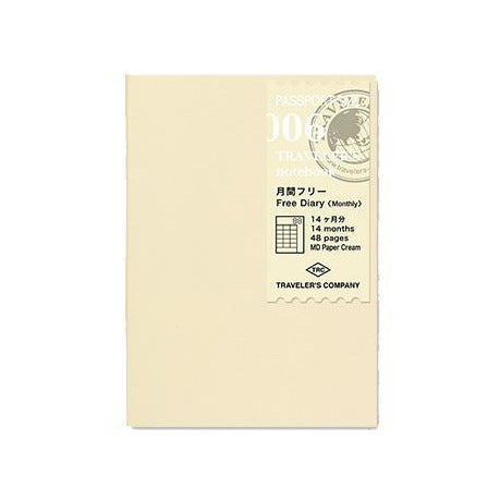 Passport size Refill 006 Free Diary Monthly • Traveler's notebook