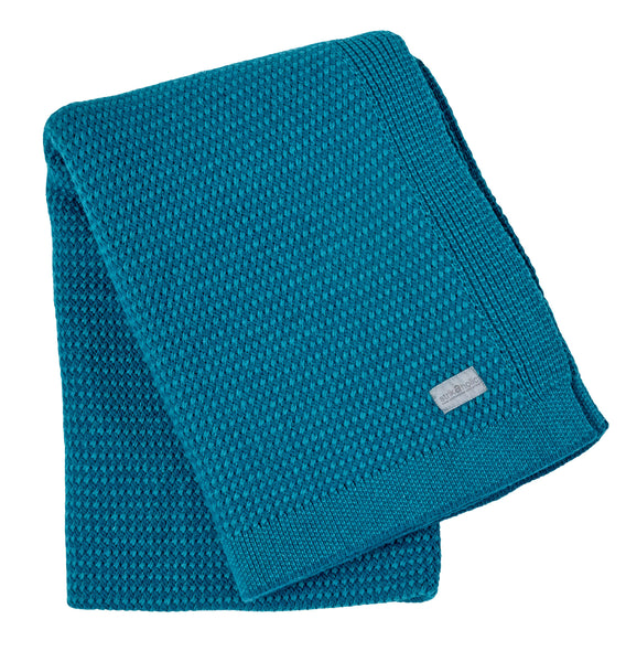 Basket Weave blanket, green/petrol