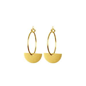 Gold Brushed Semi Circle Hoop Earrings