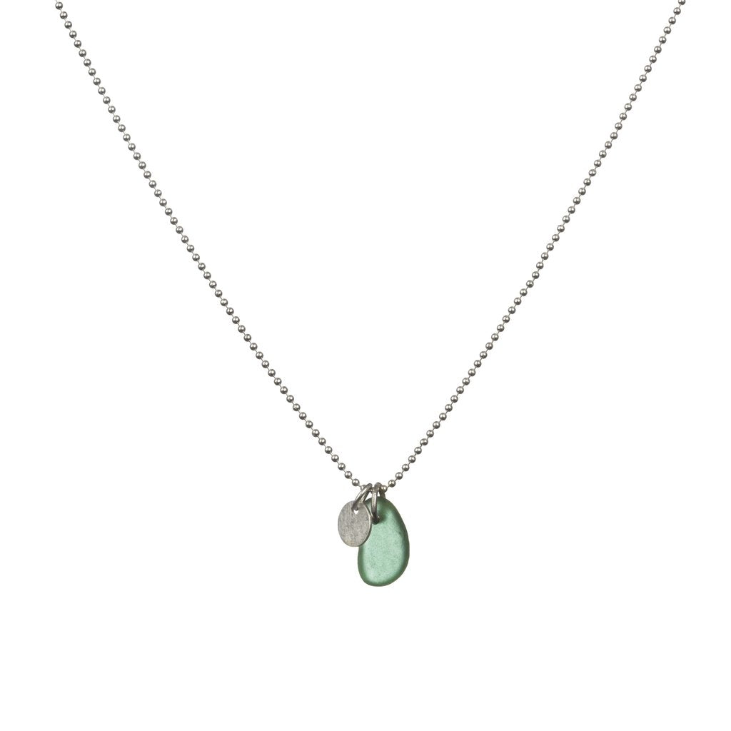 Emerald Green Sea Glass and Silver Disc Necklace